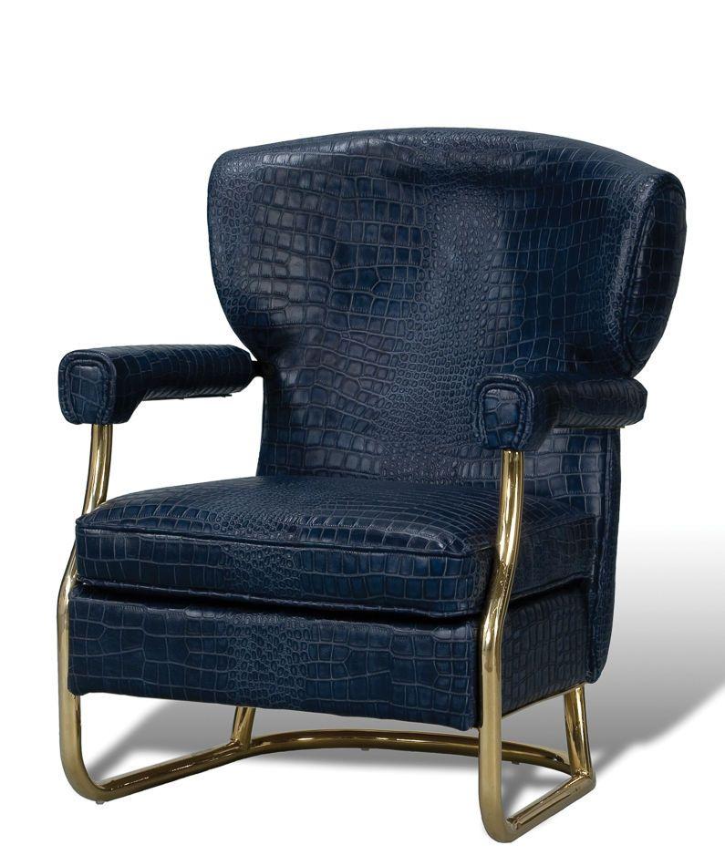 Arm Chair Blue Crocodile Gator Pattern Leather Steel Frame