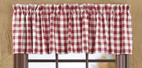 New Farmhouse Retro Diner Picnic Buffalo Red White Check Window Curtain Valance Cottage Curtains Primitive Kitchen