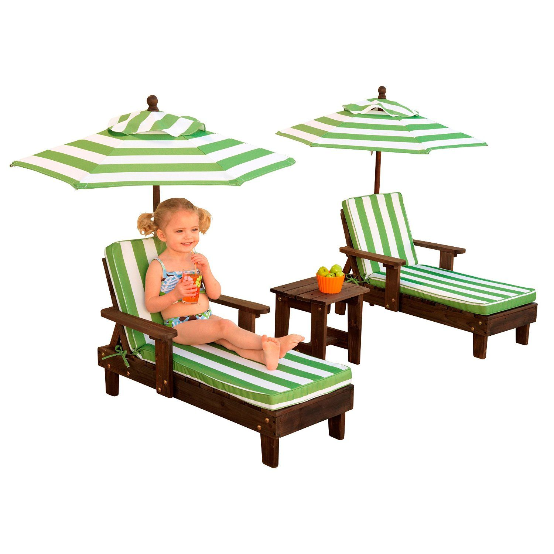 Amazon com kidkraft wooden kona 2 chaise and umbrella set toys games