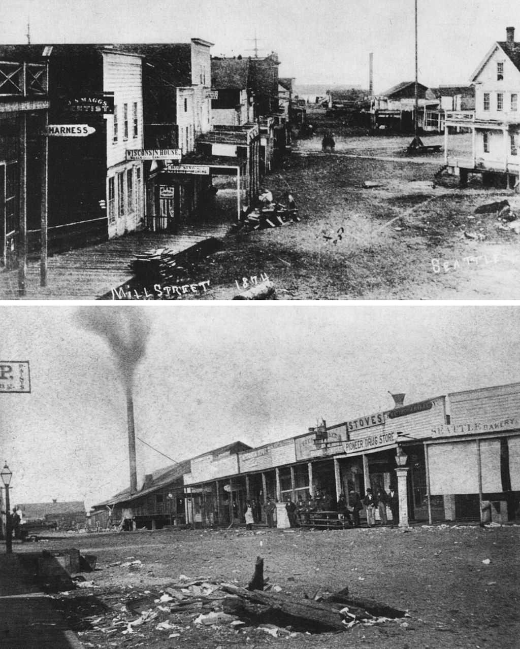 Original Skid Road Seattle 1874 Photo Skid Row Two Photos Of