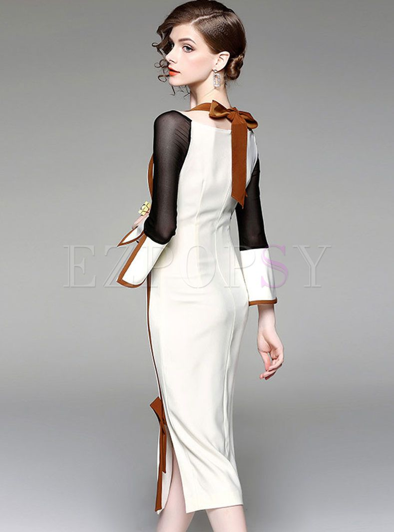 c4930aeff06e Shop for high quality Stylish Flare Sleeve Slash Neck Bodycon Dress online  at cheap prices and discover fashion at Ezpopsy.com