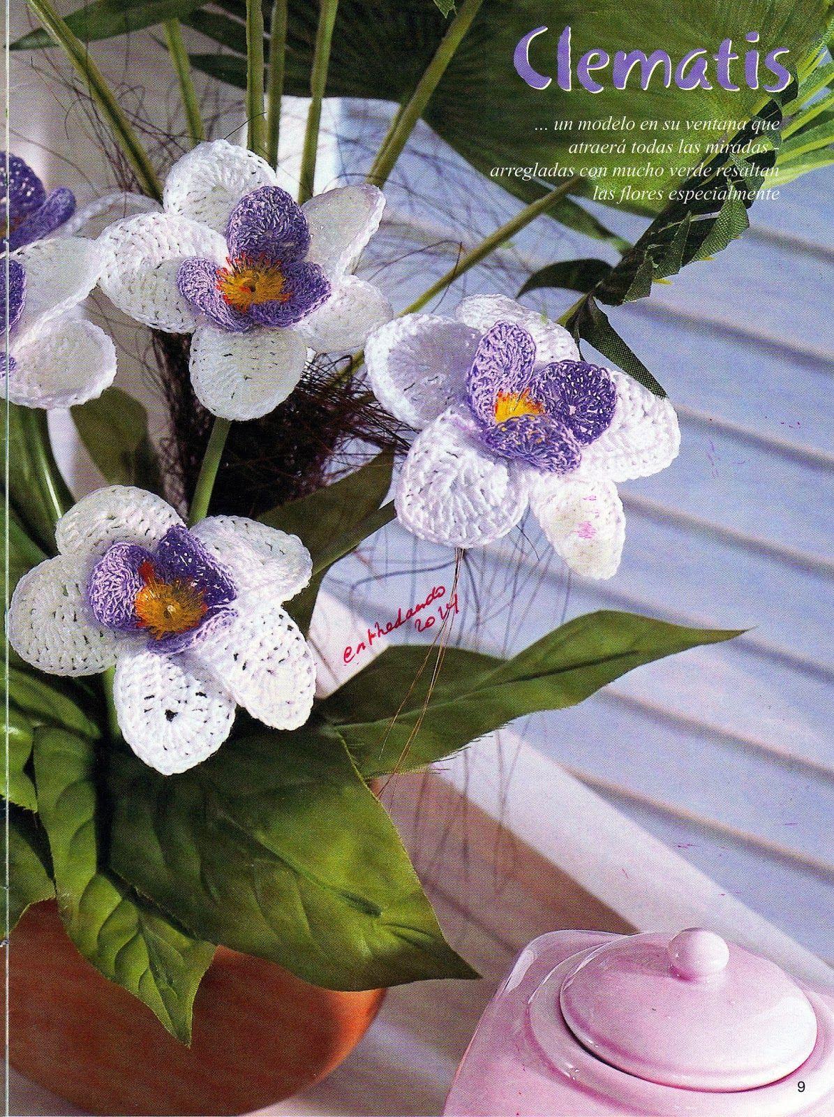 Flores de Croche Patrones Blancas y Malvas - Patrones Crochet | For ...