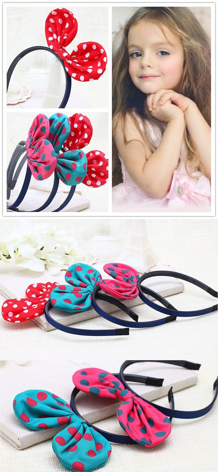Pcs chiffon dot mickey ears girls headband canvas bow baby