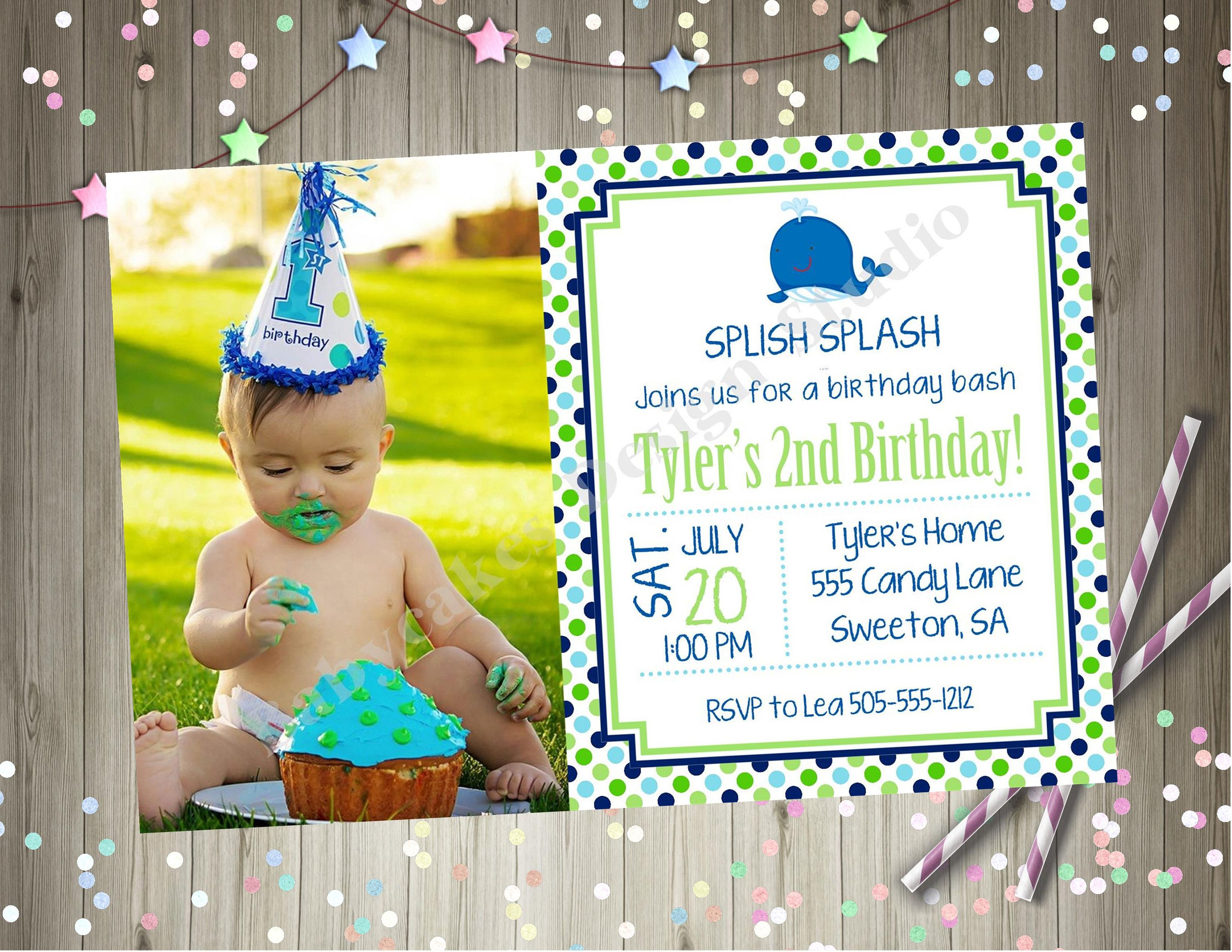 whale birthday party invitation invite whale 1st birthday photo