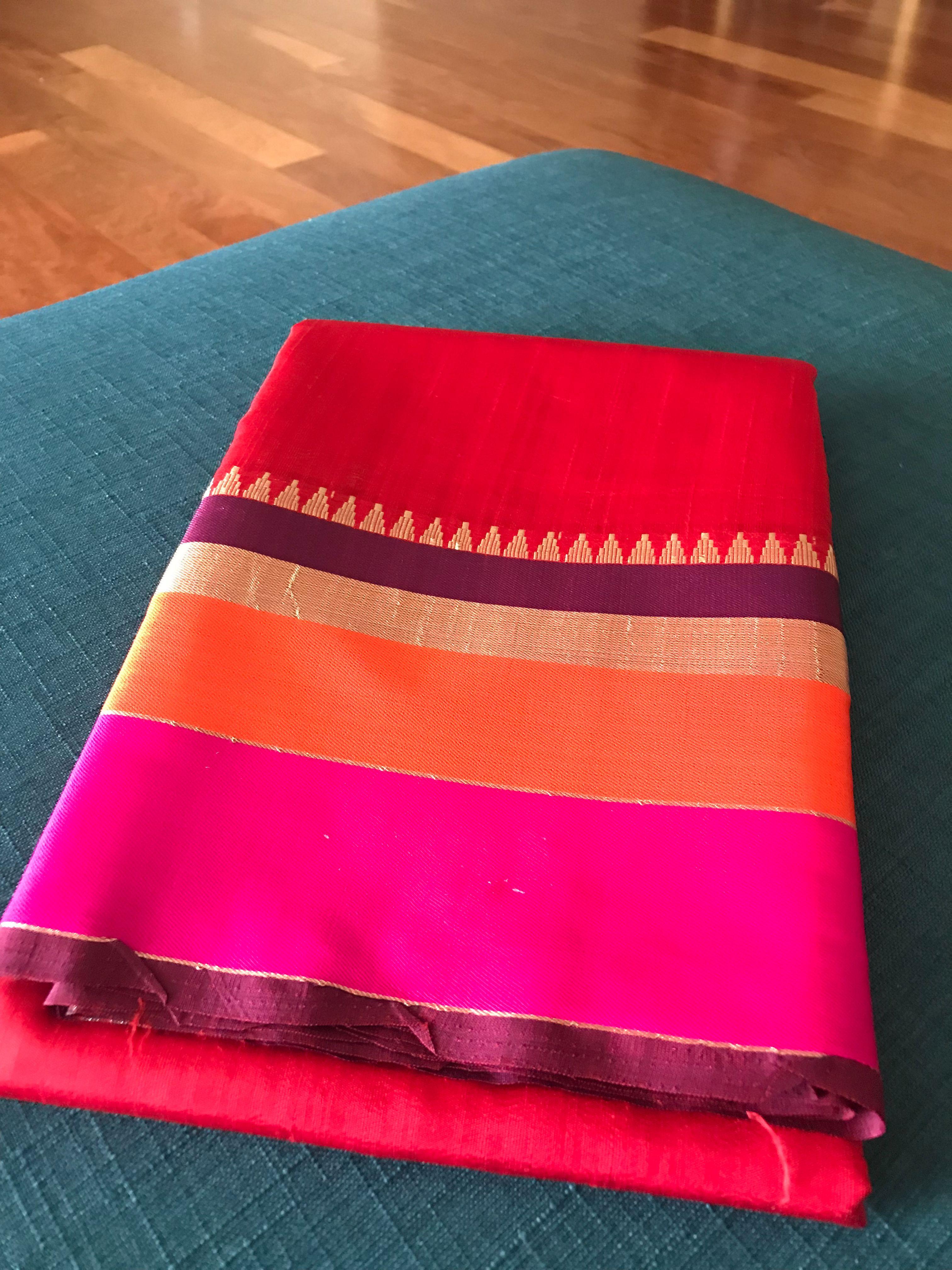 Art Silk Saree in Red Art silk sarees, Saree, Silk sarees