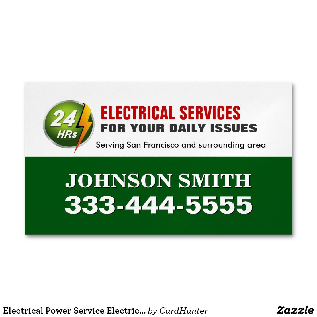 Electrical Power Service Electrician Fridge Magnet Business Cards