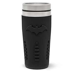 Have Alfred refill this Batman travel mug for you before you rush out in the Batmobile. It holds 15 ounces, and it's double-walled with a silicone sleeve featuring the bat insignia to keep your beverage the right temperature, and to keep criminals at bay.