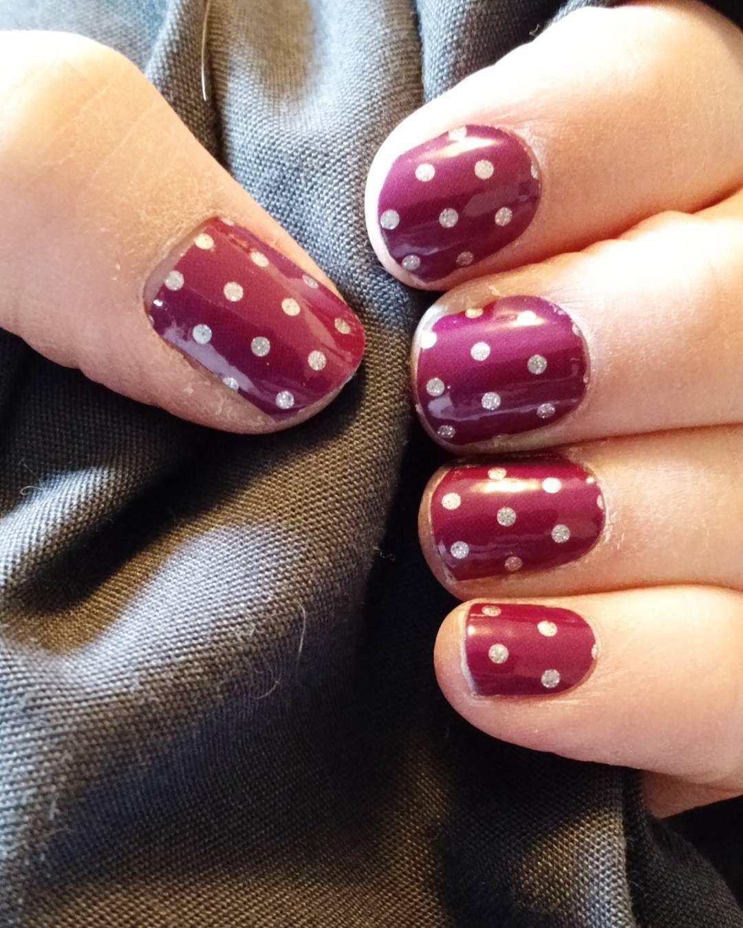 "Jamberry - Icy Boysenberry Polka Lorraine Hauger Instagram lorrainehauger  #jamberry #jamberrynails #jamberrynailwraps #IcyBoysenberryPolka #icyboysenberrypolkajn #fallnails"""