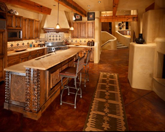 Rustic Santa Fe Mexican Kitchen With