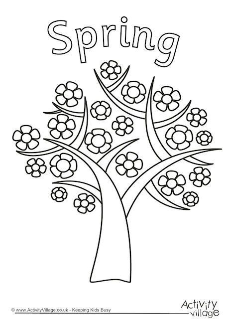 Spring tree colouring page coloring
