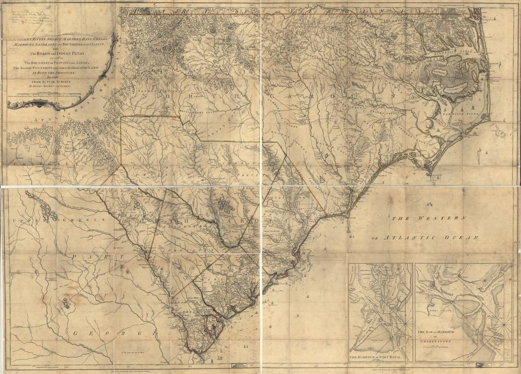 An accurate map of North and South Carolina with their Indian