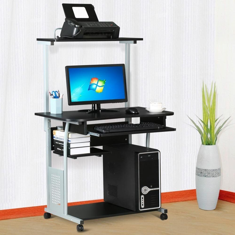 Amazon Com World Pride 2 Tier Computer Desk With Printer Shelf Stand Home Office Rolling Study Table Black Printer Shelf Desks For Small Spaces Computer Desk