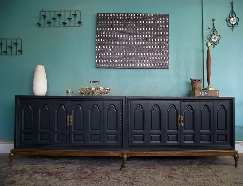 Vintage Ground Large Charcoal Buffet Sideboard Media BuffetDining Room