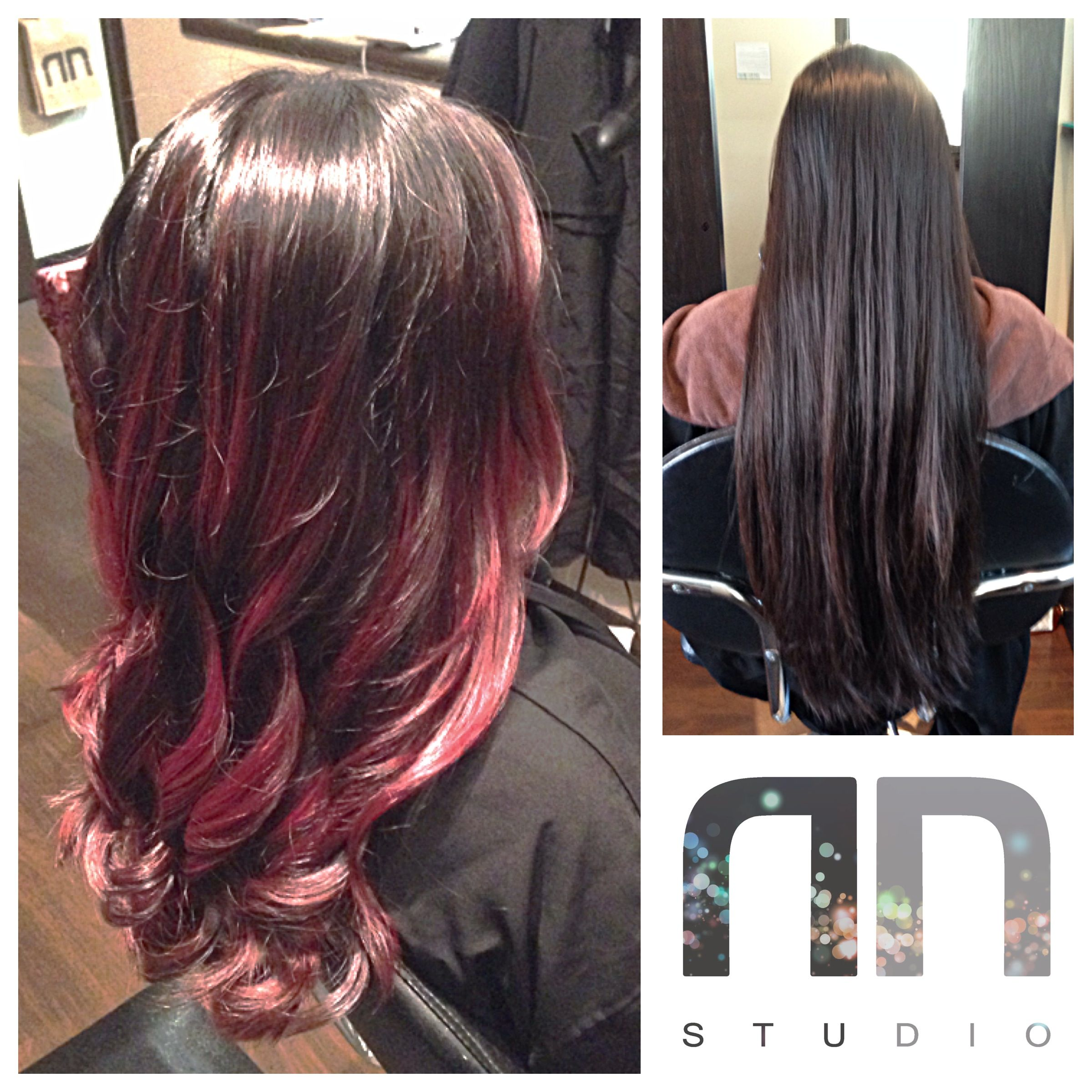 Rad red Balayage Ombre