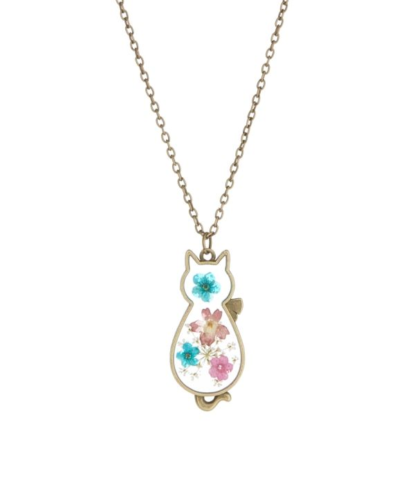 pastel tone goldtone pressed flower cat pendant necklace by zulily