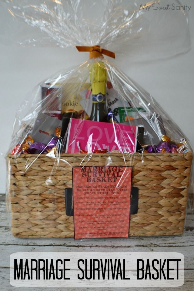 Marriage Survival Basket My Sweet Sanity Bridal Shower Gift Baskets Creative Bridal Shower Gifts Bridal Shower Gifts For Bride