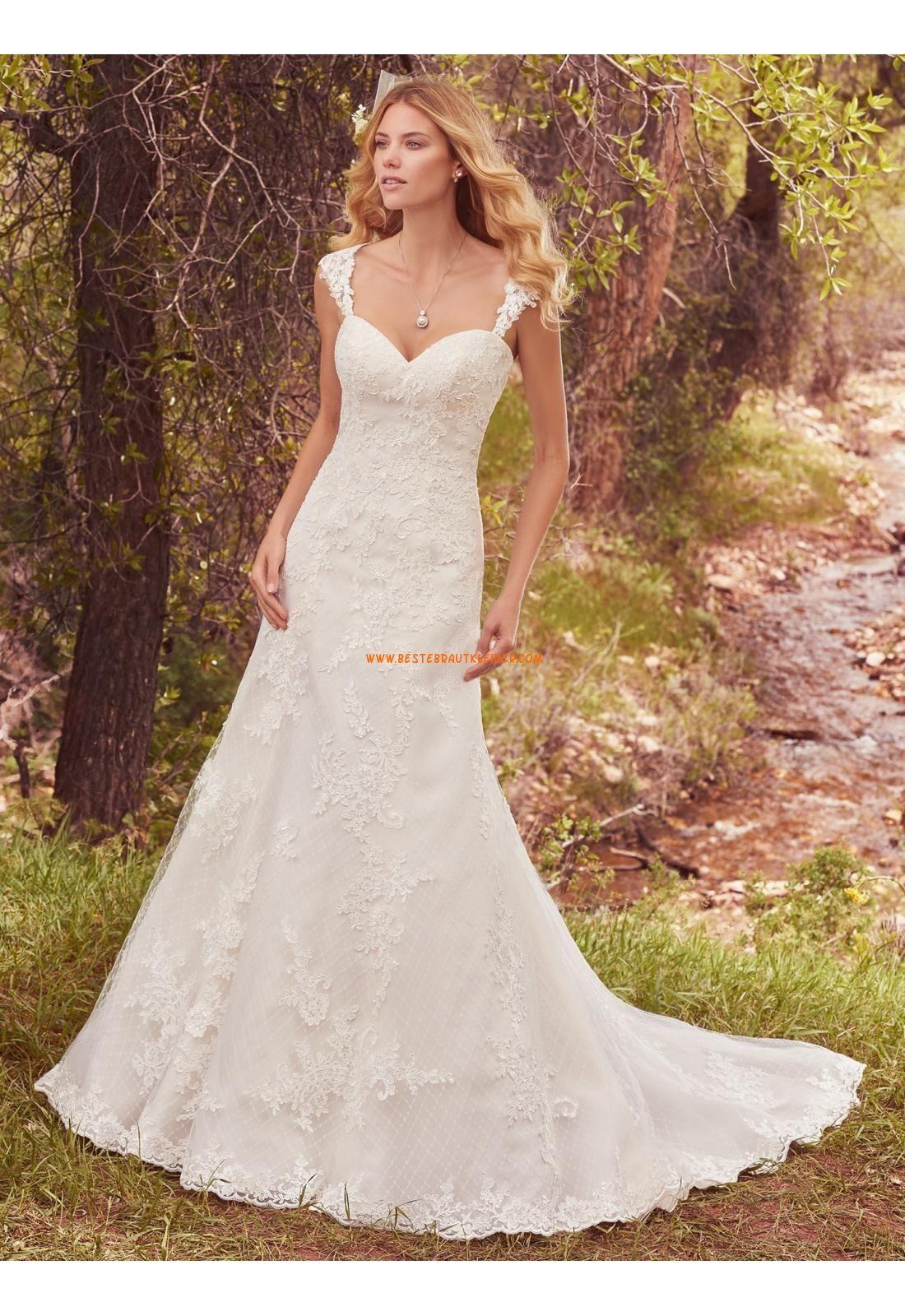 Meerjungfrau V-ausschnitt Glamouröse Brautkleider aus Tüll mit ...