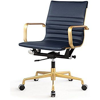 MEELANO 348 GD NVY Office Chair in Vegan Leather, GoldNavy