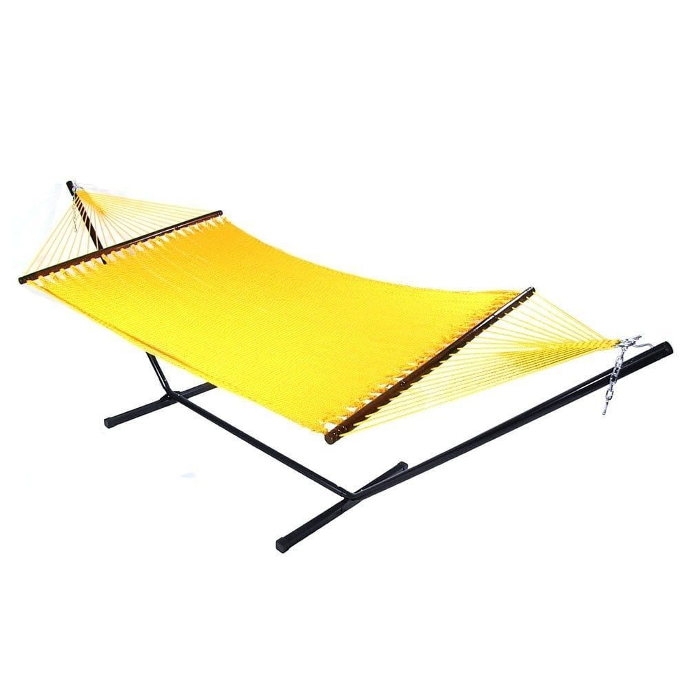 sunnydaze large 2 person rope hammock with spreader bar  u0026 hammock stand  yellow  sunnydaze large 2 person rope hammock with spreader bar  u0026 hammock      rh   pinterest