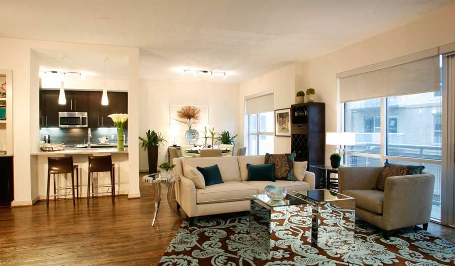 Open Living Rooms With Hardwood Floors Venue Museum District Houston Texas Apartments