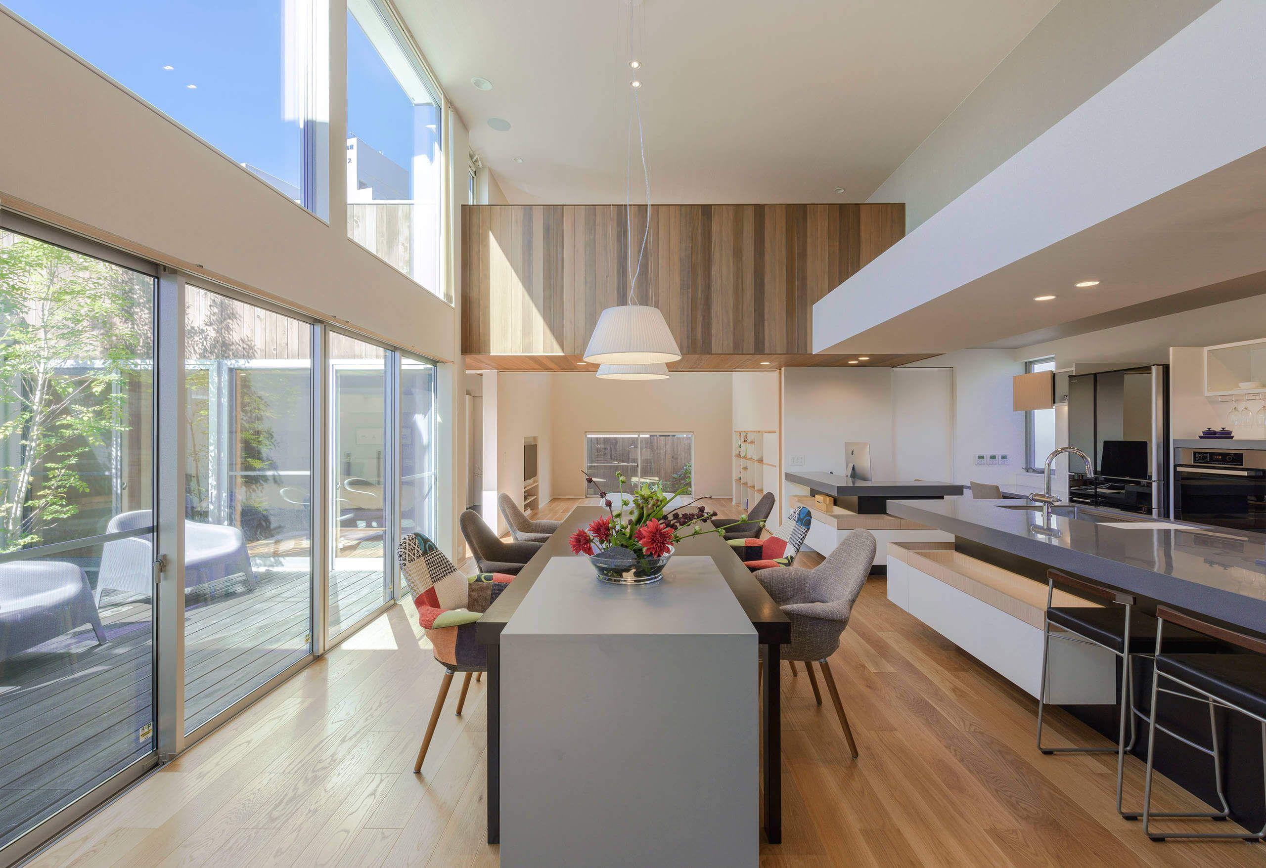Offene Küche, Glas Große Fensterfront, Tischgruppe