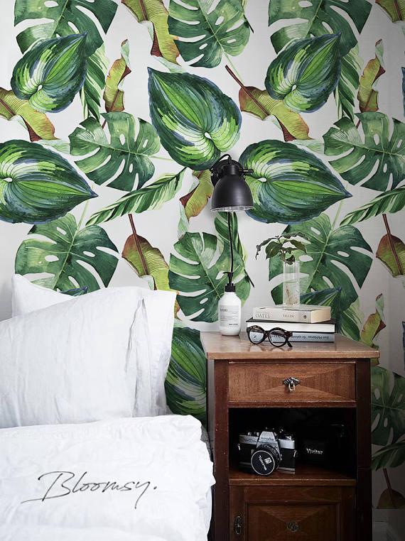 Peel and stick wallpaper #8 Temporary wallpaper Self adhesive wallpaper Palm Leaves Wallpaper Removable wallpaper Floral wallpaper