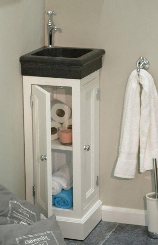 Fontein hoekmeubel van 38x38 met hadsteen geprofileerd for Kastje onder wastafel toilet