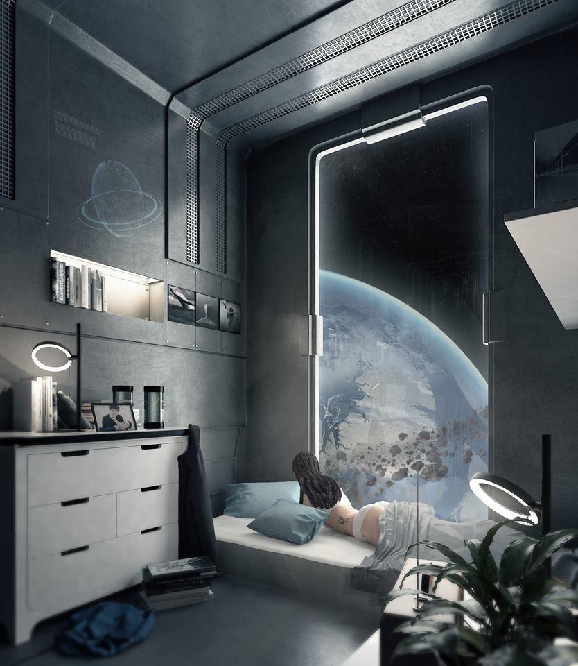 Futuristic Spaceship Bedroom