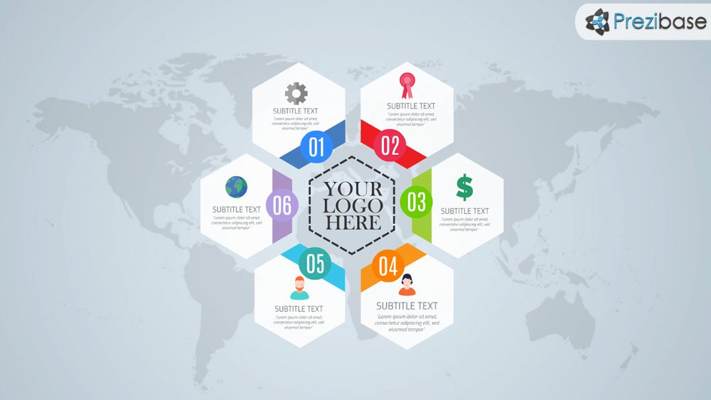 Free Hexagon Style Layout World Infographic Prezi Template  Prezi
