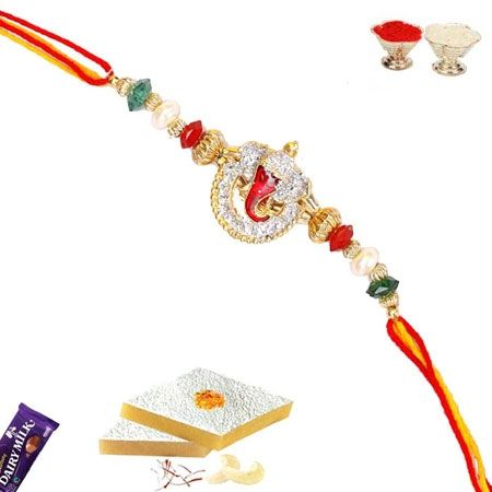 Divine Ganesh Rakhi with American Diamond and Crystals ORWMAP152