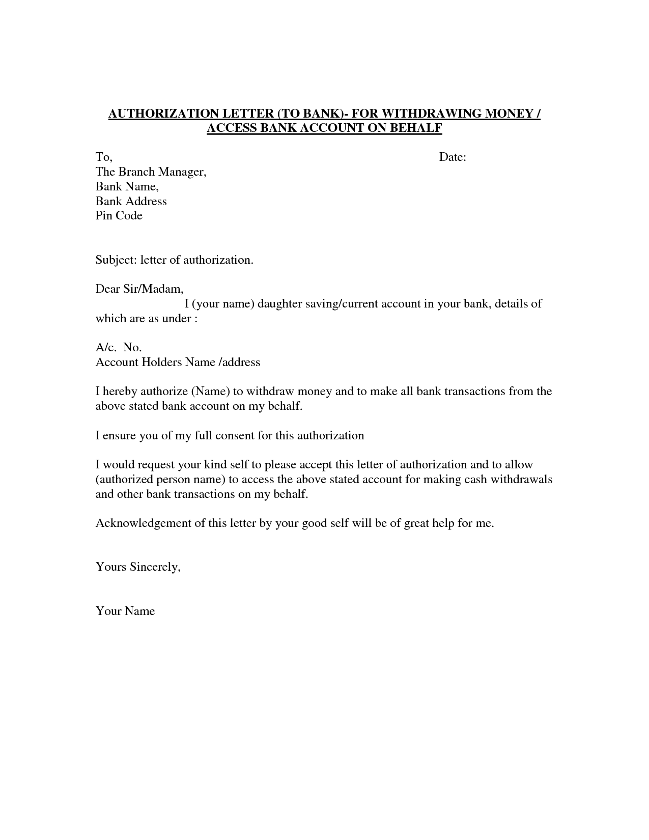 Authorization Letter Template Best Car GalleryFormal Letter – Sample Letter of Authorization