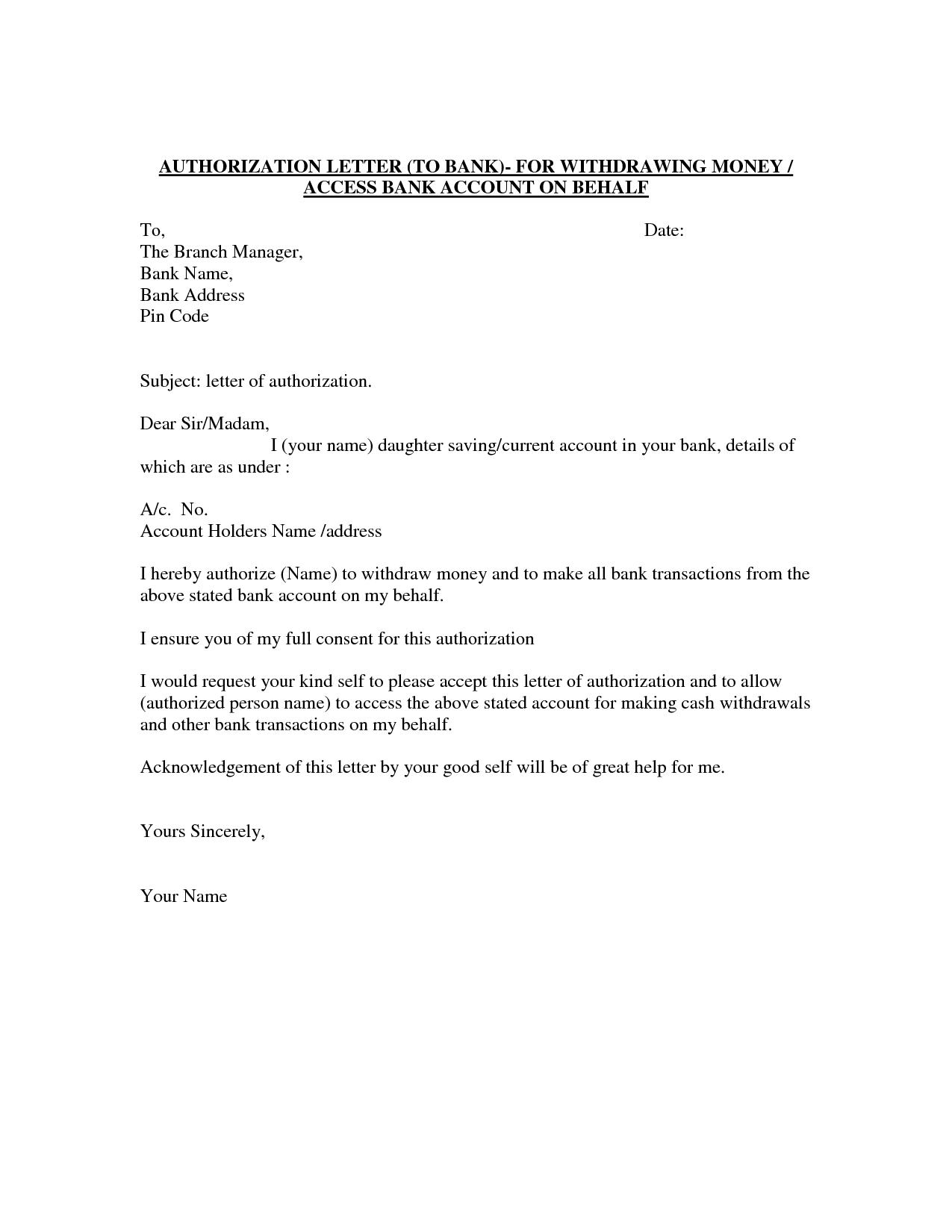 Authorization Letter Template Best Car Galleryformal Letter Authorization Letter  Sample Bank Transaction