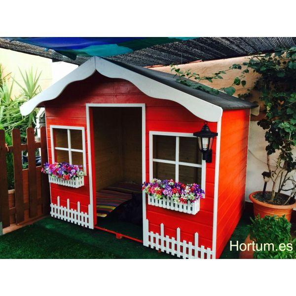 Casita de madera infantil decorar y pintada para crear for Jardin al aire libre de madera deco