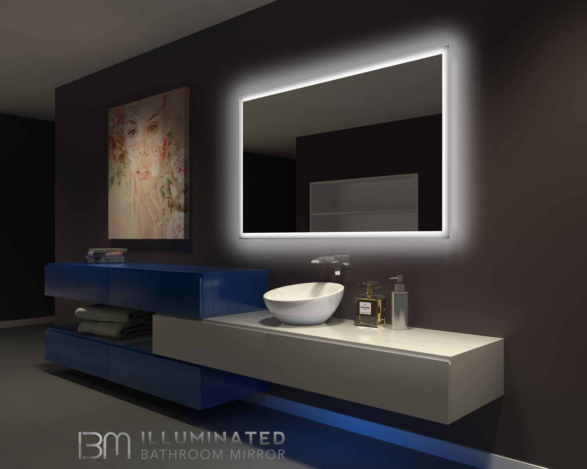 Dimmable Backlit Mirror Rectangle 60 X 36 Backlit Mirror Backlit Bathroom Mirror Illuminated Mirrors
