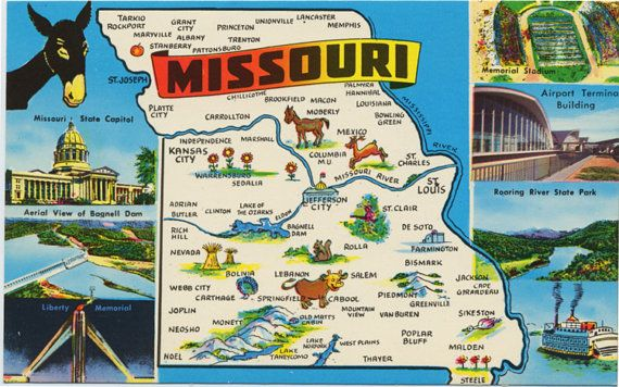 Missouri State Map Vintage Chrome Greetings Postcard Vintage USA - Missouri state map usa
