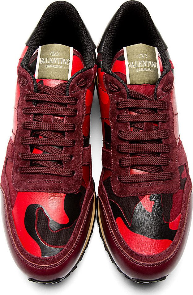 Valentino Rockrunner  Red   Black Camo Sneakers  dae74a99b5