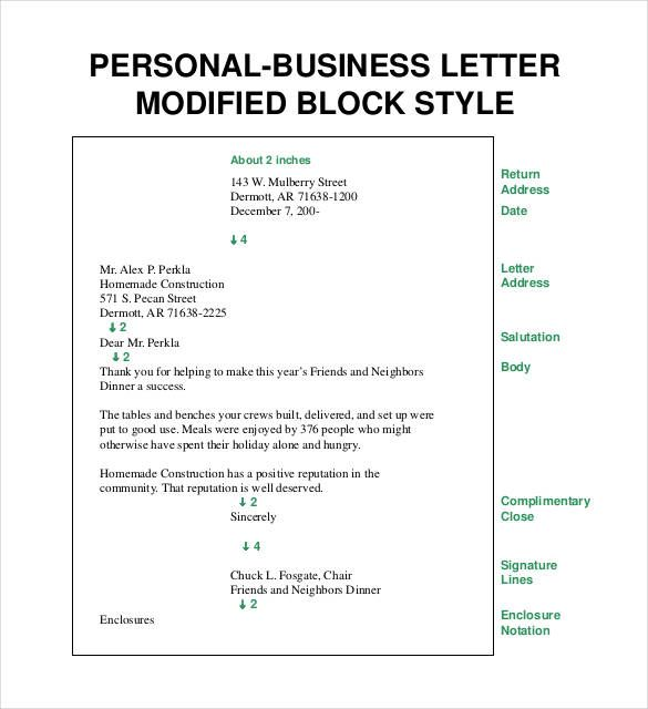 printable personal business letter modified block style pdf httpssourcetemplatecom