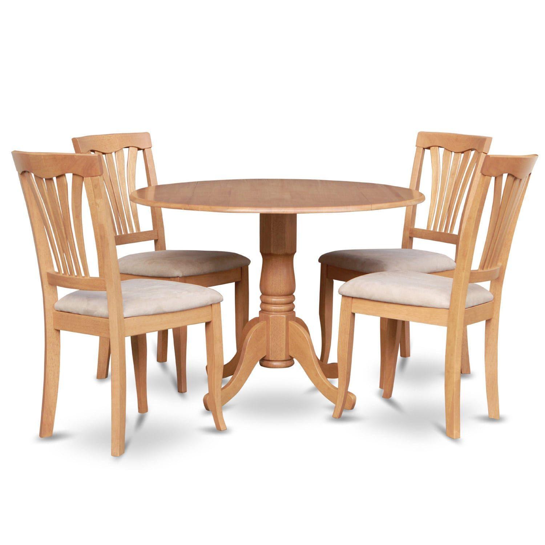 Oak Round Kitchen Table and 4 Kitchen Chairs 5piece | Kitchen_Table ...