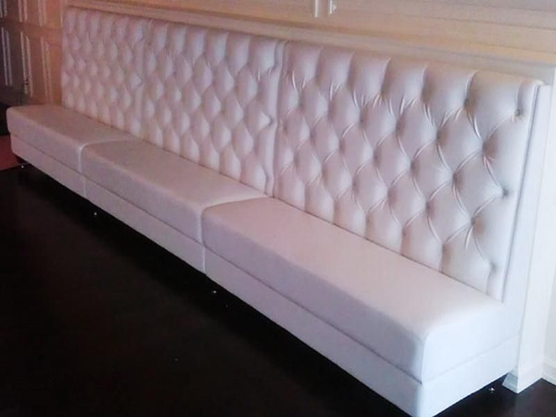 Superb Office White Upholstered Banquette Seating