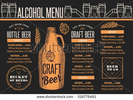 Beer menu placemat food restaurant brochure; template design - beer menu