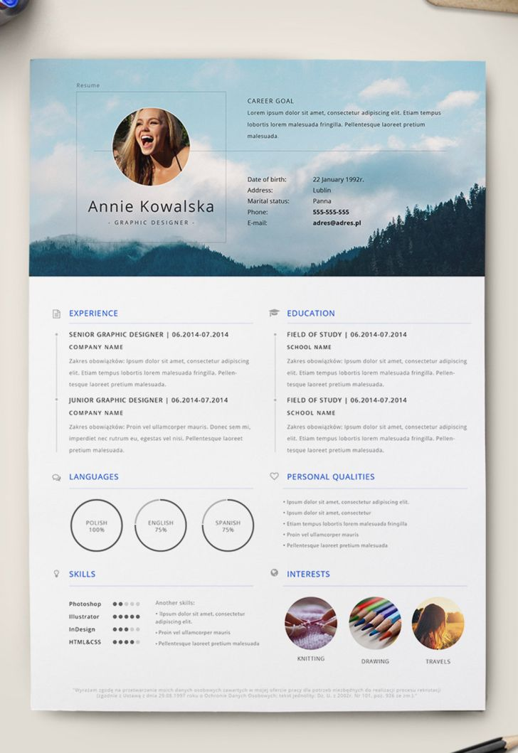 7 Free Editable Minimalist Resume CV In Adobe Illustrator And