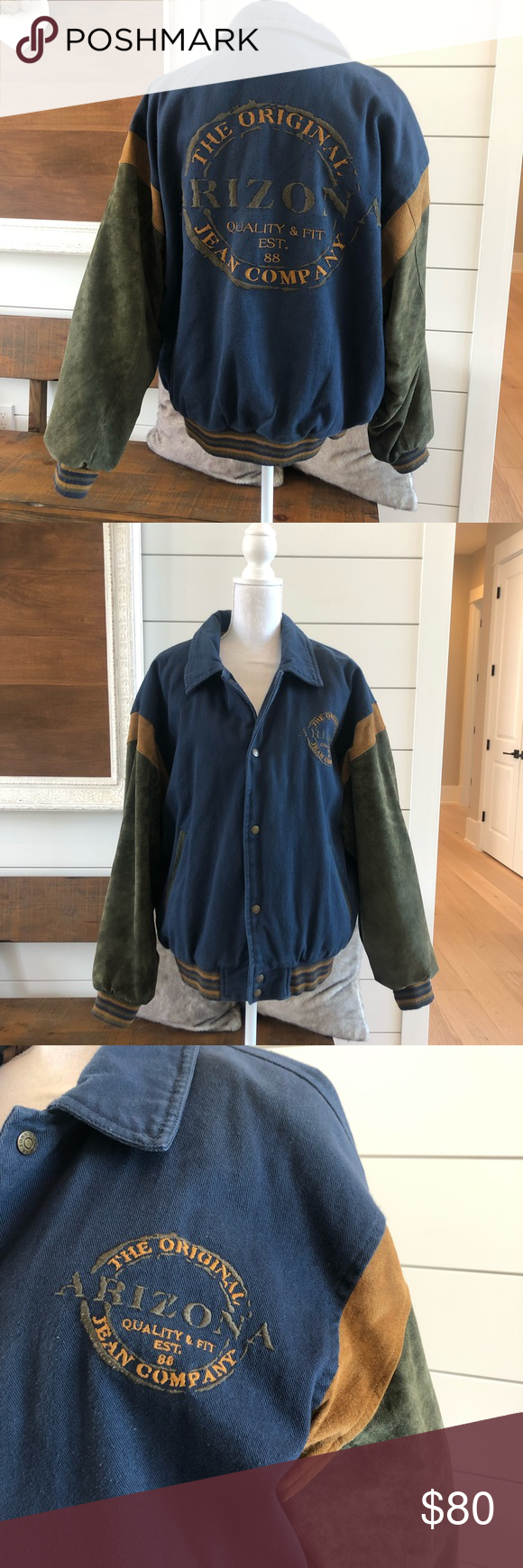 Vintage 90s Arizona Jean company varsity jacket Vintage 90s Arizona Jean company varsity jacket. Navy blue and green. Good vintage condition! Awesome hard to find jacket!! Vintage Jackets & Coats Bomber & Varsity #varsityjacketoutfit