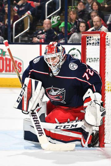 COLUMBUS, OH - MARCH 17: Goaltender Sergei Bobrovsky #72 of the Columbus Blue Jackets defends the net against the Ottawa Senators on March 17, 2018 at Nationwide Arena in Columbus, Ohio. (Photo by Jamie Sabau/NHLI via Getty Images)