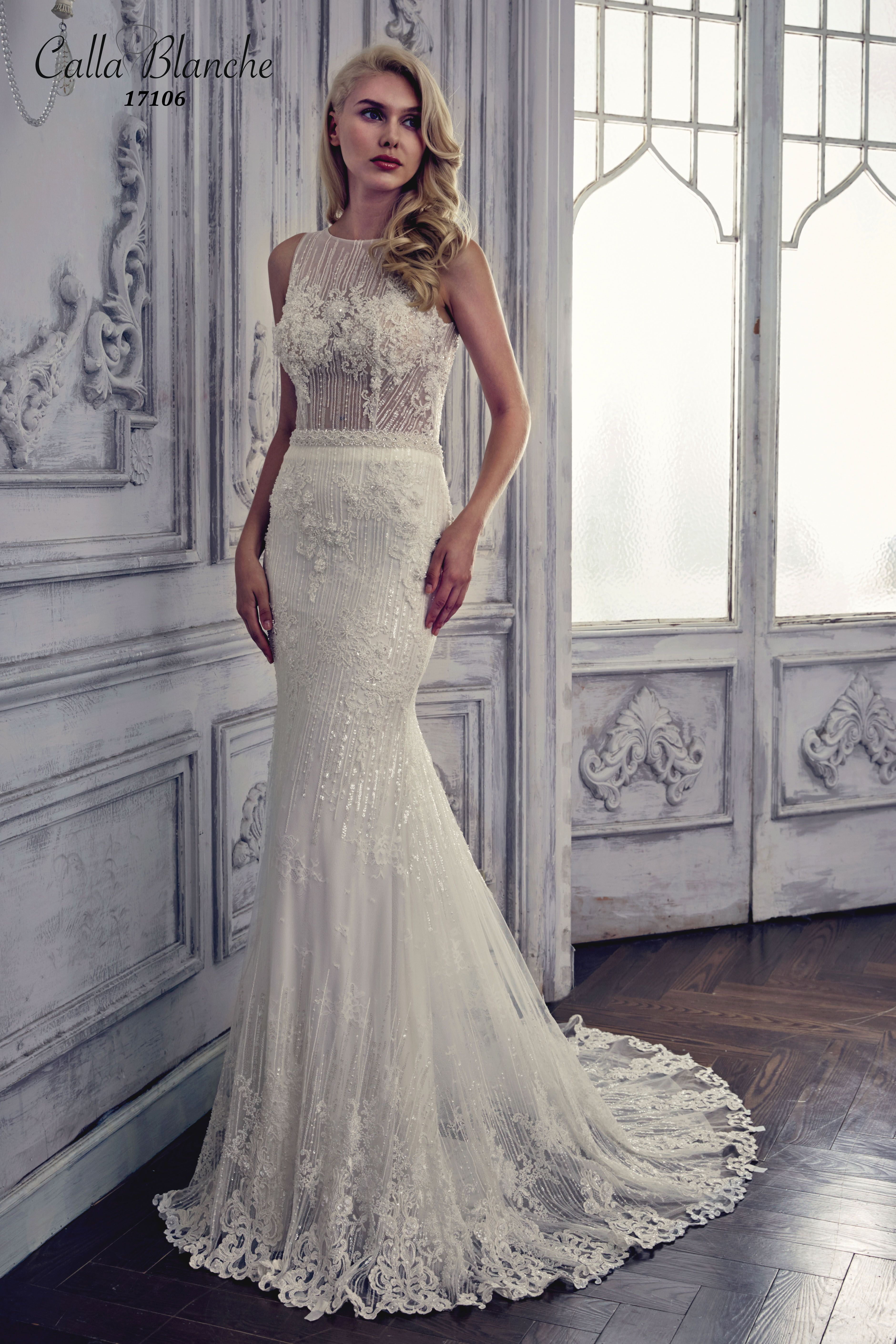 Calla Blanche Wedding Dress Gown Gemma Ivory Sheath Style With Beaded Lace Boat Neckline And Sleeveless For The Bride Boutique