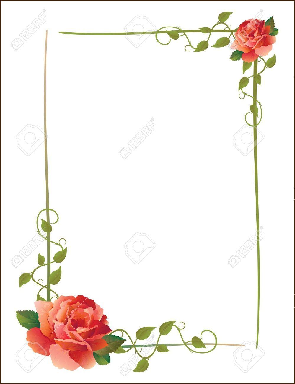 5638136-vintage-frame-with-roses-and-creeping-plant-Stock ...