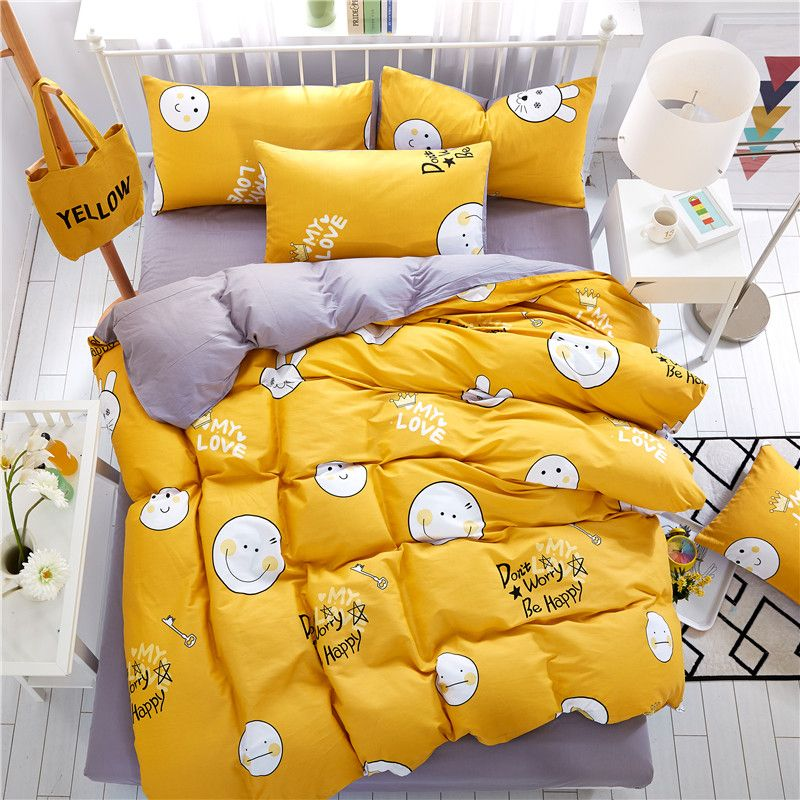 Bon Home Textiles,Lovely Yellow Smiley Face Style 100%Cotton Bedding Sets 4Pcs  Duvet Cover