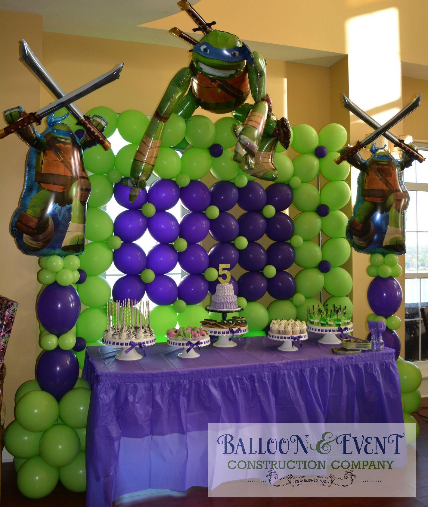Amazing Backdrop For A Cake Display Balloon Decorations Ninja Turtle Birthday Theme Ninja Turtles Birthday Party
