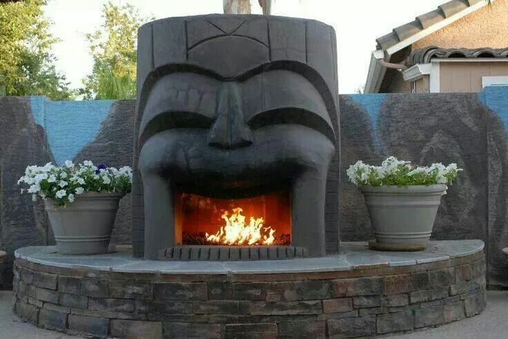 Tiki Back Yard Fireplace Cool Stuff I Want In My House