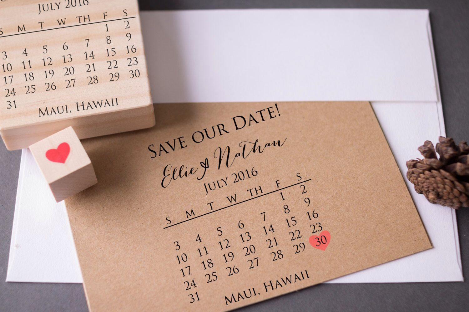 Save the Date Calendar Stamp with Heart - Custom Wedding DIY Rubber ...