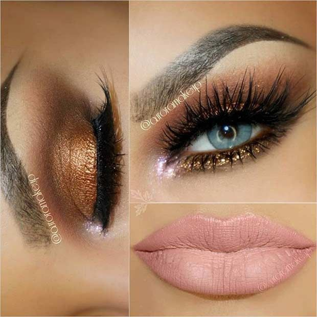 31 Eye Makeup Ideas For Blue Eyes Stayglam Blue Eye Makeup Smokey Eye Makeup Bronze Smokey Eye